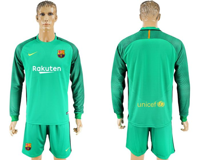 Men 2017-2018 club Barcelona green Long sleeve goalkeeper soccer jersey