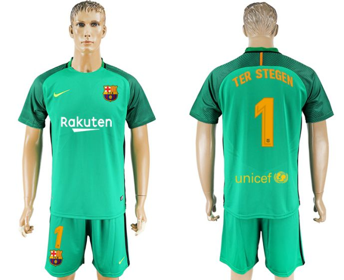 Men 2017-2018 club Barcelona green goalkeeper 1 blue soccer jersey