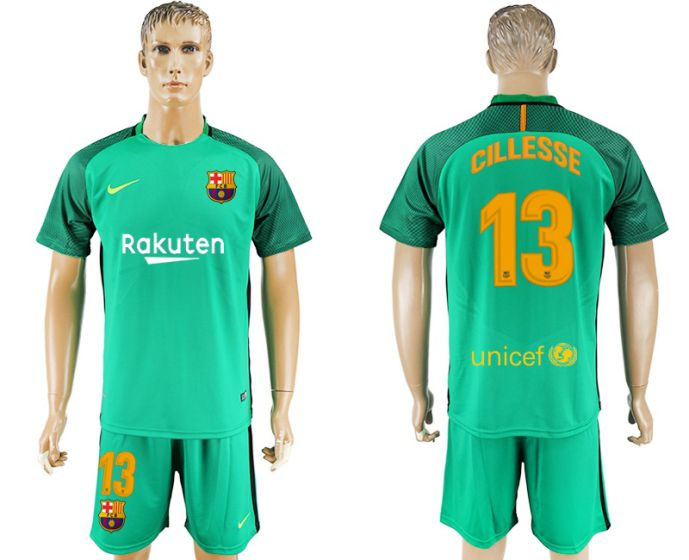 Men 2017-2018 club Barcelona green goalkeeper 13 blue soccer jersey
