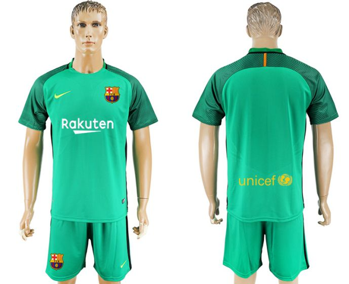 Men 2017-2018 club Barcelona green goalkeeper blue soccer jersey