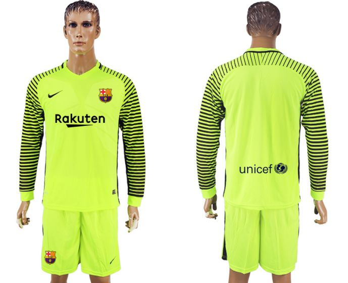 Men 2017-2018 club Barcelona green goalkeeper long sleeve soccer jersey