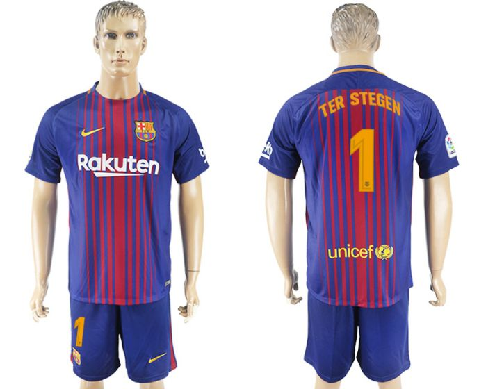 Men 2017-2018 club Barcelona home 1 blue soccer jersey