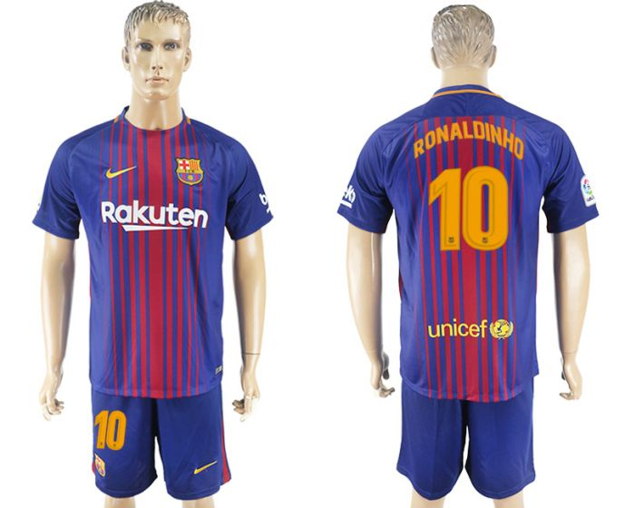 Men 2017-2018 club Barcelona home 10 Ronaldinho blue soccer jersey