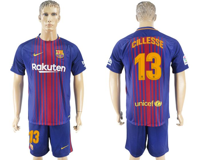 Men 2017-2018 club Barcelona home 13 blue soccer jersey