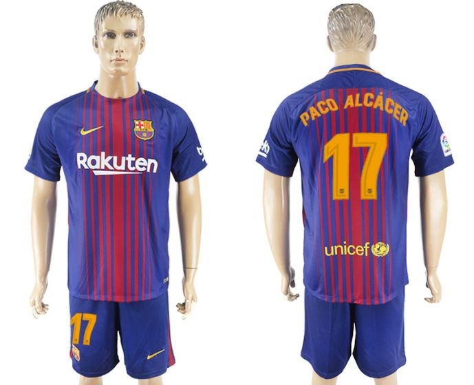 Men 2017-2018 club Barcelona home 17 blue soccer jersey