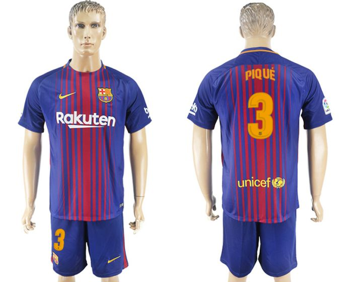 Hommes 2017-2018 club Barcelone domicile 3 bleu football maillot