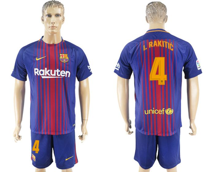 Men 2017-2018 club Barcelona home 4 blue soccer jersey