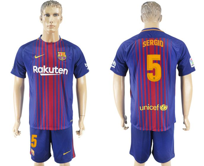 Men 2017-2018 club Barcelona home 5 blue soccer jersey