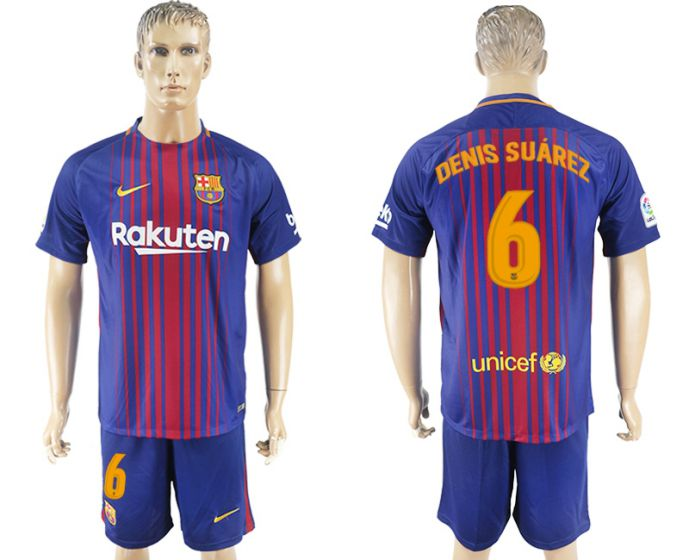 Men 2017-2018 club Barcelona home 6 blue soccer jersey