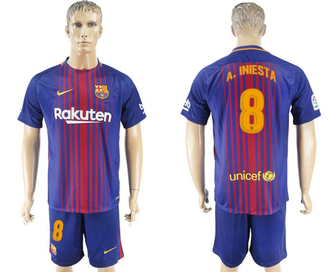 Men 2017-2018 club Barcelona home 8 blue soccer jersey