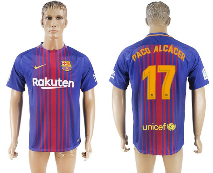 Hommes 2017-2018 club Barcelone accueil aaa version 17 maillot de football violet