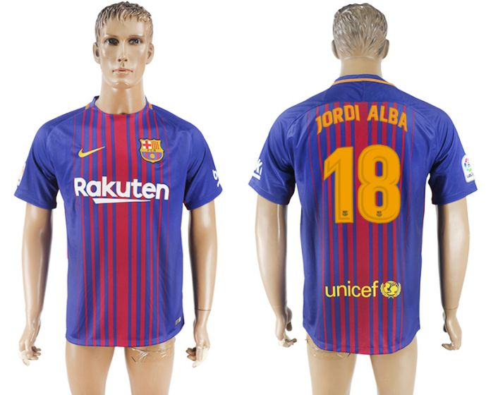 Hommes 2017-2018 club Barcelone accueil aaa version 18 maillot de football violet