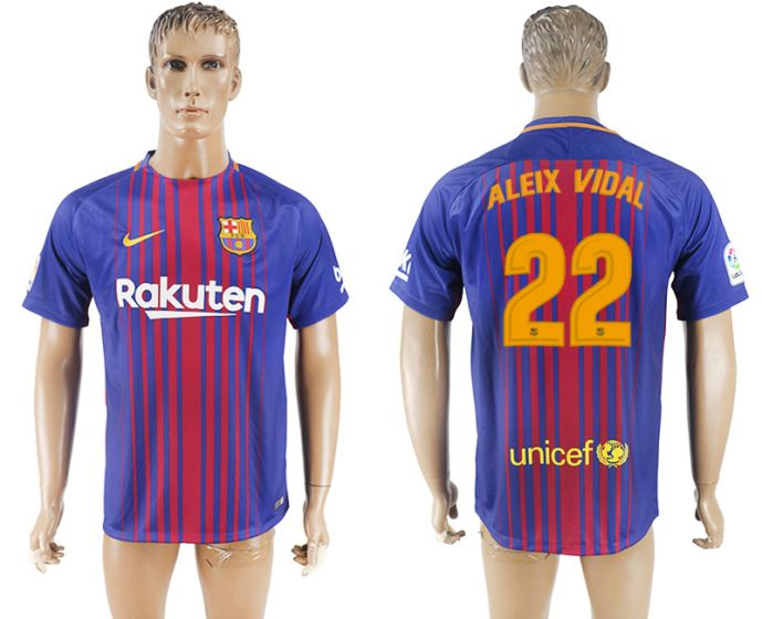 Hommes 2017-2018 club Barcelone accueil aaa version 22 maillot de football violet