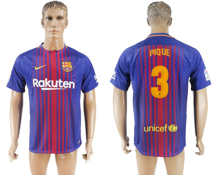 Hommes 2017-2018 club Barcelone accueil aaa version 3 maillot de football violet
