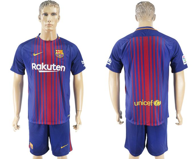 Men 2017-2018 club Barcelona home blue soccer jersey