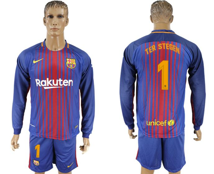 Men 2017-2018 club Barcelona home long sleeve 1 soccer jersey