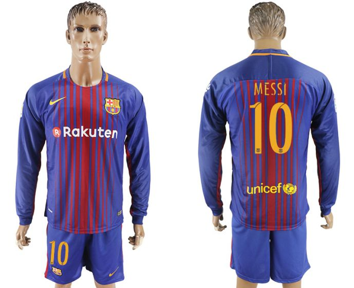 Men 2017-2018 club Barcelona home long sleeve 10 Messi soccer jersey