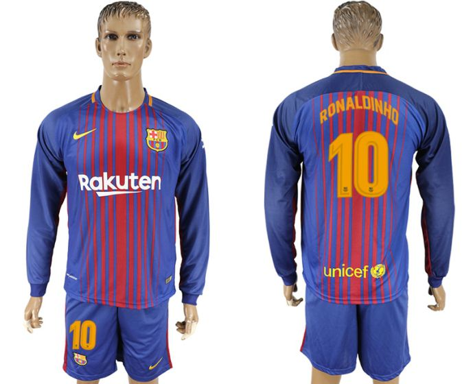 Men 2017-2018 club Barcelona home long sleeve 10 purple soccer jersey
