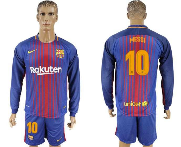 Men 2017-2018 club Barcelona home long sleeve 10 soccer jersey