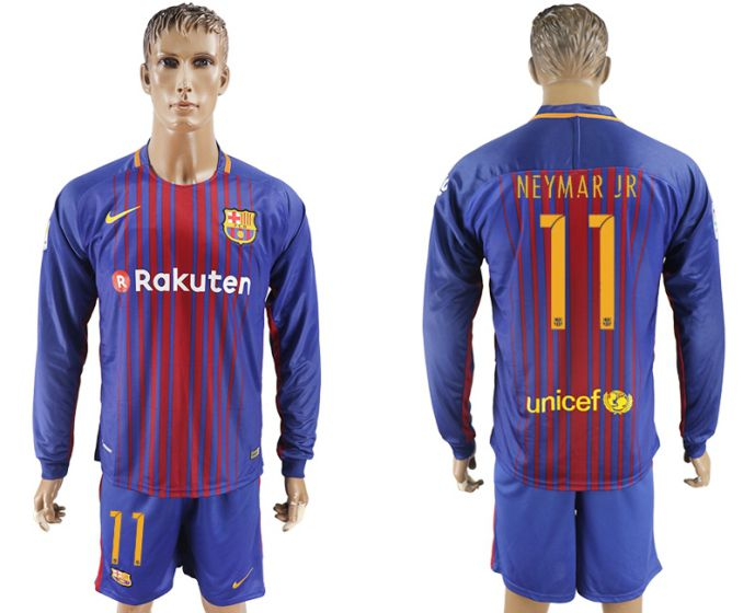 Men 2017-2018 club Barcelona home long sleeve 11 purple soccer jersey