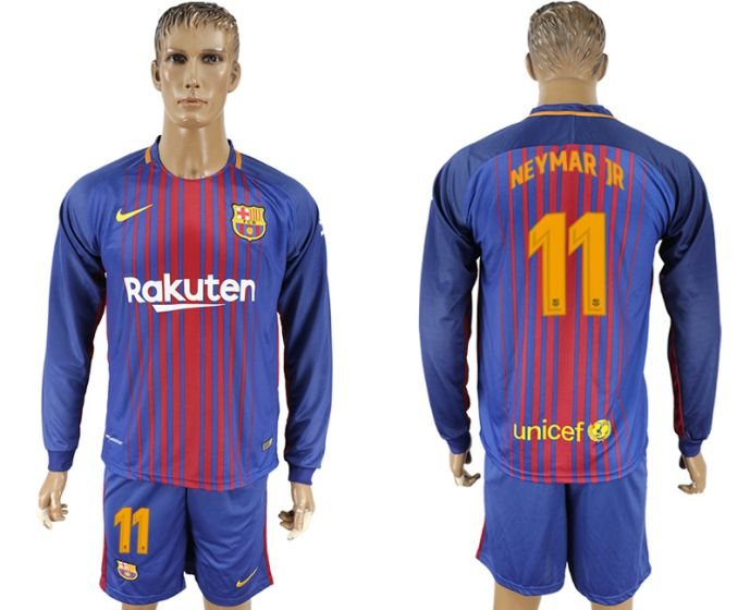 Men 2017-2018 club Barcelona home long sleeve 11 soccer jersey