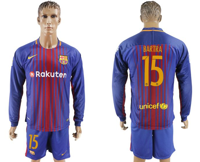 Men 2017-2018 club Barcelona home long sleeve 15 purple soccer jersey