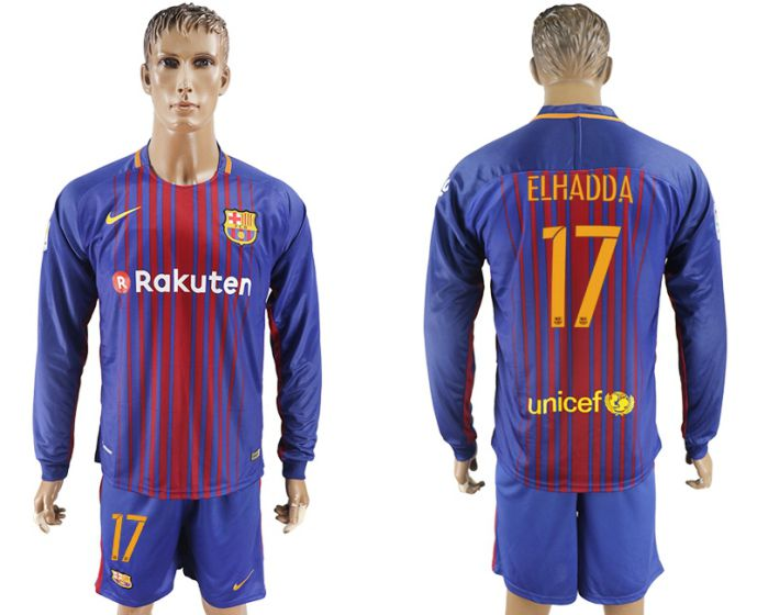 Men 2017-2018 club Barcelona home long sleeve 17 purple soccer jersey
