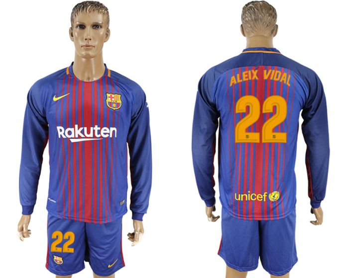 Men 2017-2018 club Barcelona home long sleeve 22 soccer jersey