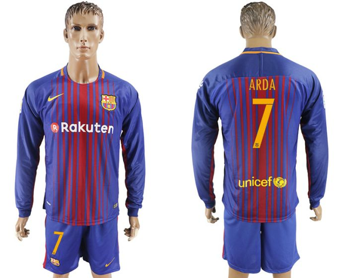 Men 2017-2018 club Barcelona home long sleeve 7 Arda soccer jersey