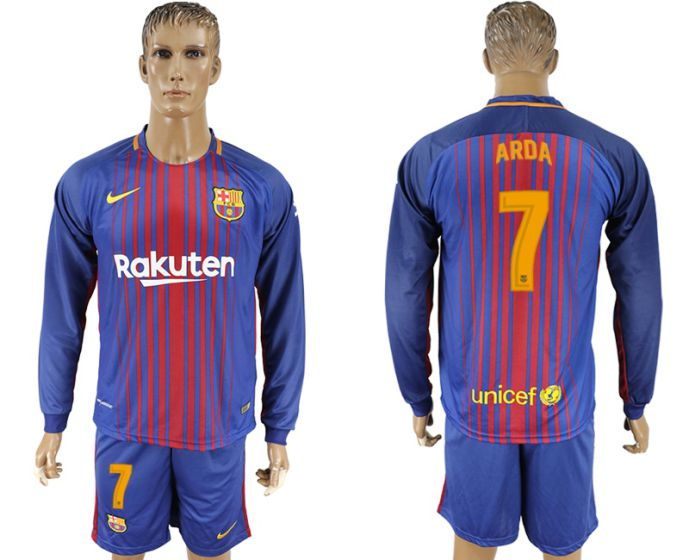 Hommes 2017-2018 club Barcelone domicile manches longues 7 maillot de football