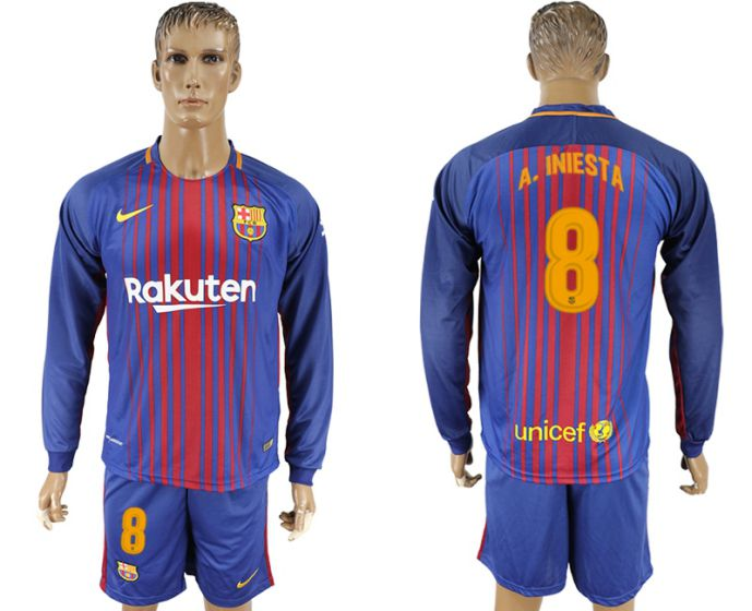 Hommes 2017-2018 club Barcelone domicile manches longues 8 maillot de football