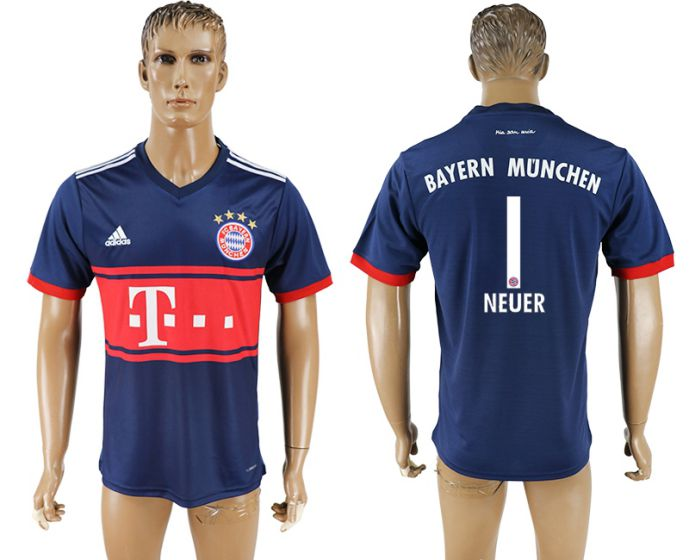Men 2017-2018 club Bayern Munich away aaa version 1 blue soccer jersey