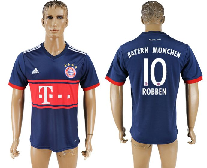 Men 2017-2018 club Bayern Munich away aaa version 10 blue soccer jersey