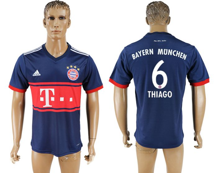 Men 2017-2018 club Bayern Munich away aaa version 6 blue soccer jersey