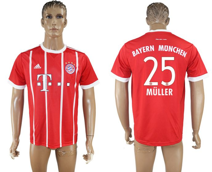 Hommes 2017-2018 club Bayern Munich accueil aaa version 25 rouge football maillot