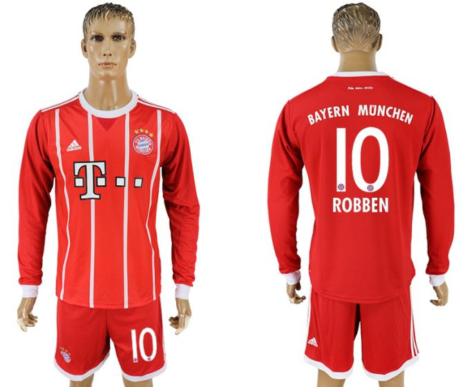 Men 2017-2018 club Bayern Munich home long sleeves 10 soccer jersey