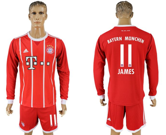 Men 2017-2018 club Bayern Munich home long sleeves 11 soccer jersey