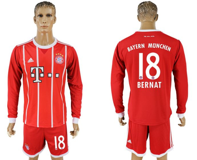 Men 2017-2018 club Bayern Munich home long sleeves 18 soccer jersey