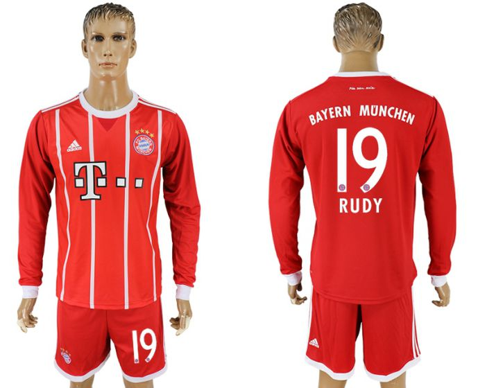 Men 2017-2018 club Bayern Munich home long sleeves 19 soccer jersey