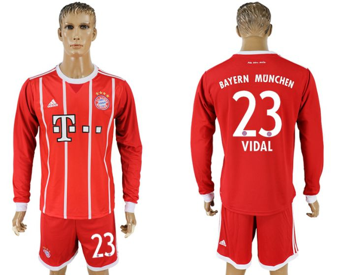 Men 2017-2018 club Bayern Munich home long sleeves 23 soccer jersey