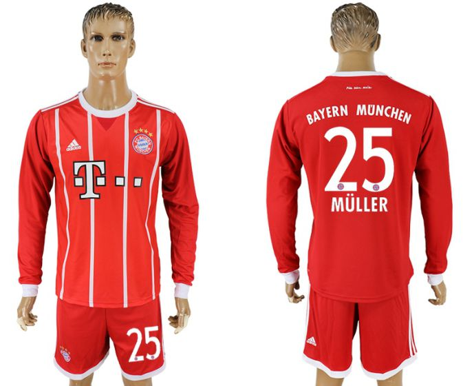 Men 2017-2018 club Bayern Munich home long sleeves 25 soccer jersey