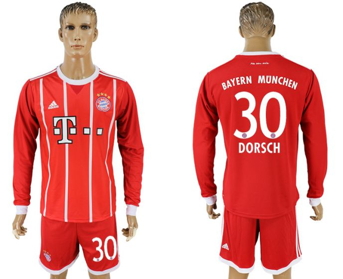 Men 2017-2018 club Bayern Munich home long sleeves 30 soccer jersey