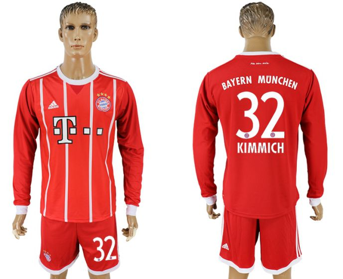 Men 2017-2018 club Bayern Munich home long sleeves 32 soccer jersey