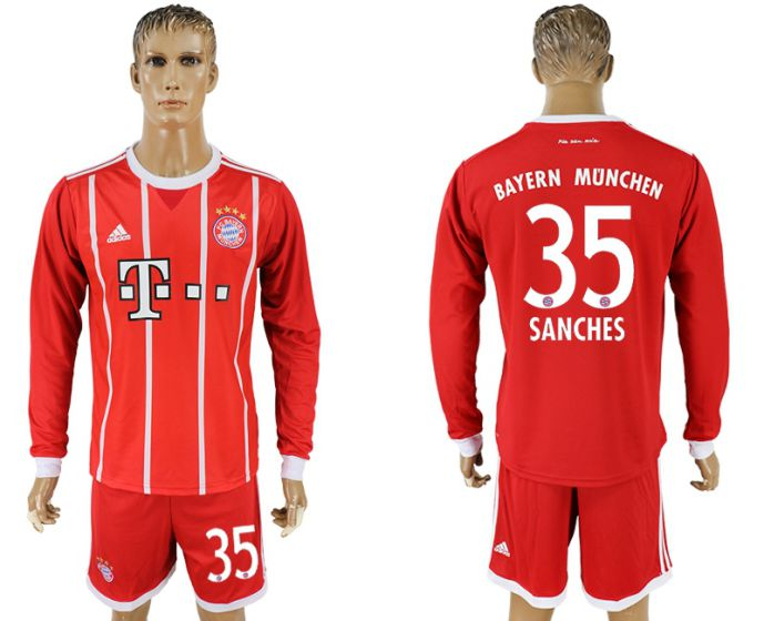 Men 2017-2018 club Bayern Munich home long sleeves 35 soccer jersey