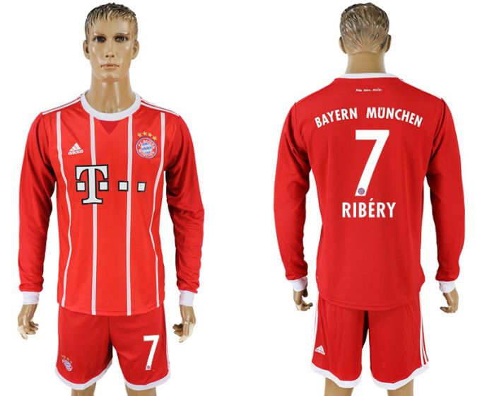 Men 2017-2018 club Bayern Munich home long sleeves 7 soccer jersey