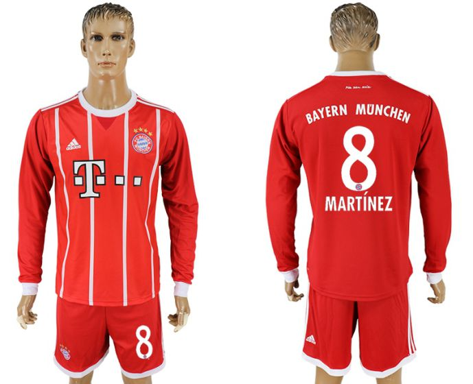 Men 2017-2018 club Bayern Munich home long sleeves 8 soccer jersey