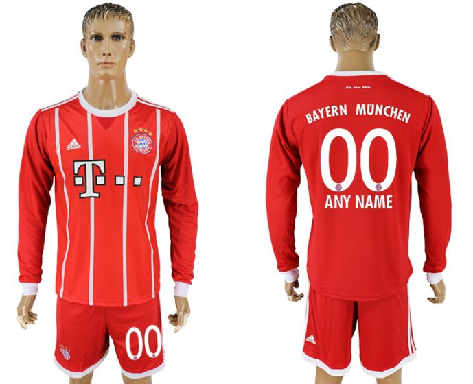 Men 2017-2018 club Bayern Munich home long sleeves customized soccer jersey