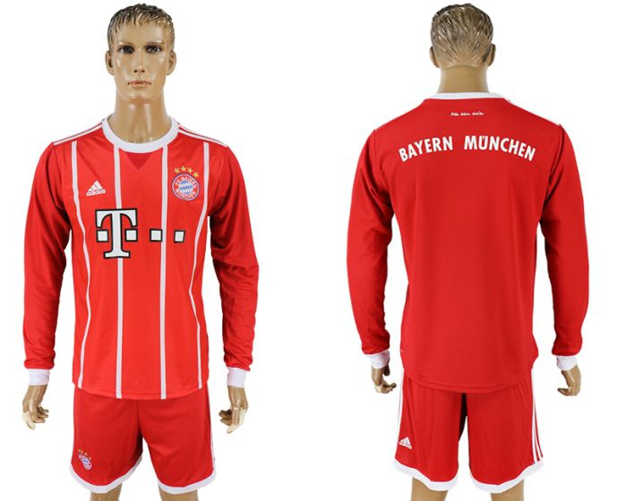 Men 2017-2018 club Bayern Munich home long sleeves soccer jersey