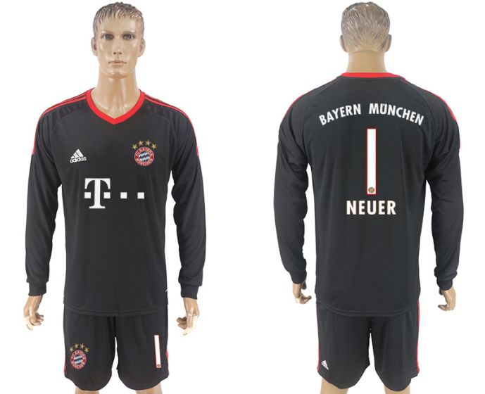 Men 2017-2018 club Bayern black goalkeeper long sleeve 1 soccer jersey