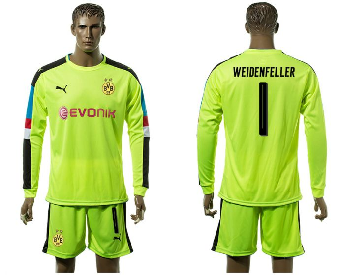 Men 2017-2018 club Borussia Dortmund Fluorescent green long-sleeved Goalkeeper Soccer Jersey 1 soccer jersey